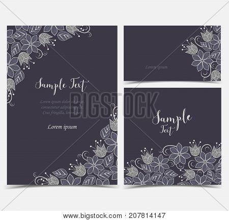 Vector illustration of floral decoration on dark background. Set of greeting cards