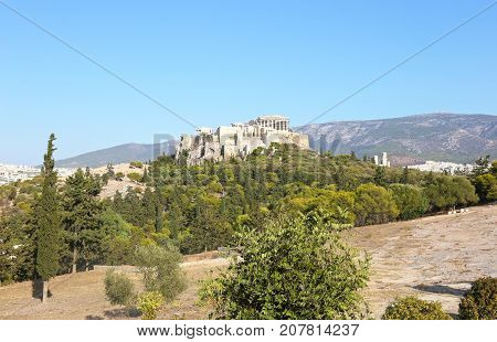 landscape of Parthenon Acropolis in Athens Greece