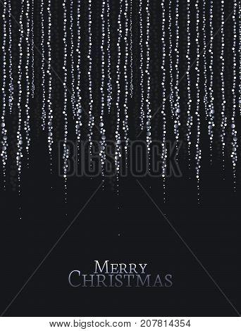 Vector illustration Christmas lights on a black background. String Lights