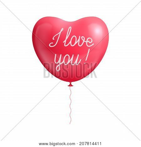 Balloon heart shape declaration love isolated. Balloon in the form of a heart with a declaration of love isolated for designers and illustrators. Ball of love in the form of a vector illustration