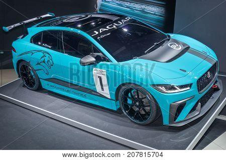 Frankfurt-September 20: Jaguar i-Pace eTrophy racing car t at the Frankfurt International Motor Show on September 20 2017 in Frankfurt