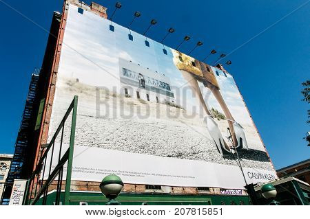 New York September 25 2017: Large Calvin Klein advertisement occupies an entire side wall of a building in Manhattan.