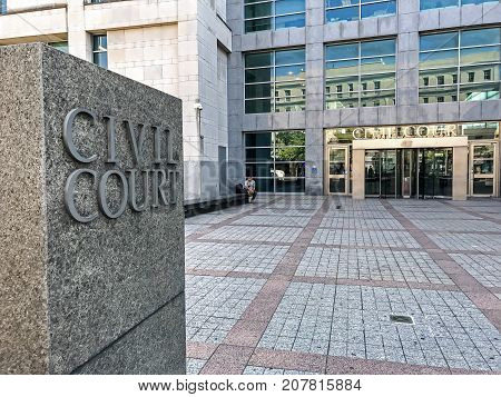 New York, September 25, 2017: A View Of The Civil Court Of Queens County.
