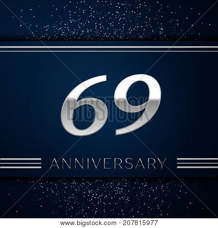 Realistic Sixty nine Years Anniversary Celebration Logotype. Silver numbers and silver confetti on blue background. Colorful Vector template elements for your birthday party