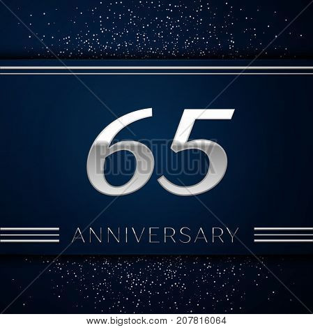 Realistic Sixty five Years Anniversary Celebration Logotype. Silver numbers and silver confetti on blue background. Colorful Vector template elements for your birthday party
