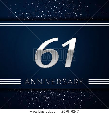 Realistic Sixty one Years Anniversary Celebration Logotype. Silver numbers and silver confetti on blue background. Colorful Vector template elements for your birthday party