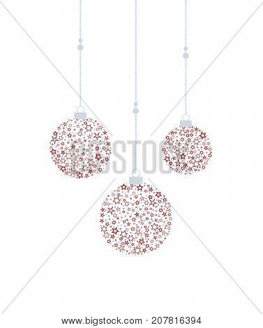 Vector illustration of a Christmas balls decoration made from stars. Happy Christmas greeting card