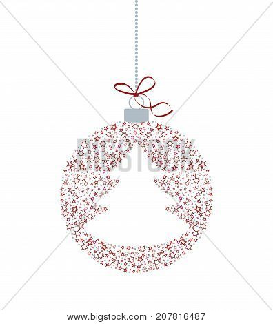 Vector illustration of a Christmas ball decoration made from stars. Happy Christmas greeting card