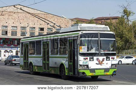 YEREVAN,ARMENIA - SEPTEMBER 30, 2017: Old trolleybus stands at the terminus on September 30,2017 in Yerevan, Armenia.