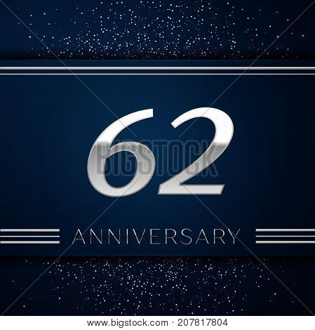Realistic Sixty two Years Anniversary Celebration Logotype. Silver numbers and silver confetti on blue background. Colorful Vector template elements for your birthday party