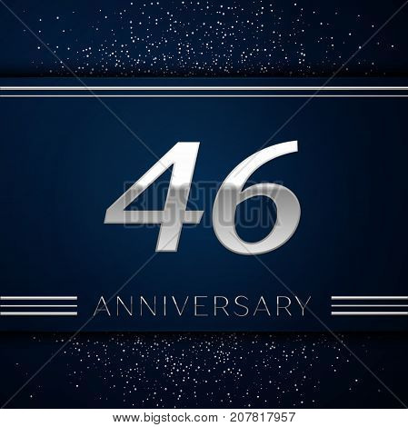 Realistic Forty six Years Anniversary Celebration Logotype. Silver numbers and silver confetti on blue background. Colorful Vector template elements for your birthday party