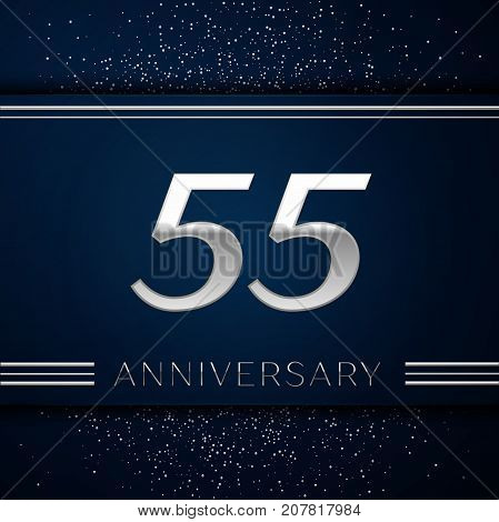 Realistic Fifty five Years Anniversary Celebration Logotype. Silver numbers and silver confetti on blue background. Colorful Vector template elements for your birthday party
