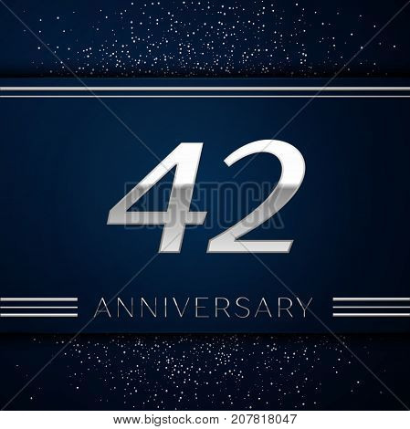 Realistic Forty two Years Anniversary Celebration Logotype. Silver numbers and silver confetti on blue background. Colorful Vector template elements for your birthday party