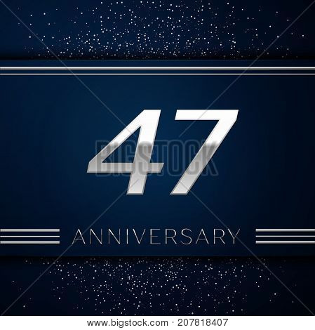 Realistic Forty seven Years Anniversary Celebration Logotype. Silver numbers and silver confetti on blue background. Colorful Vector template elements for your birthday party