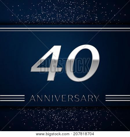Realistic Forty Years Anniversary Celebration Logotype. Silver numbers and silver confetti on blue background. Colorful Vector template elements for your birthday party