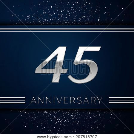 Realistic Forty five Years Anniversary Celebration Logotype. Silver numbers and silver confetti on blue background. Colorful Vector template elements for your birthday party