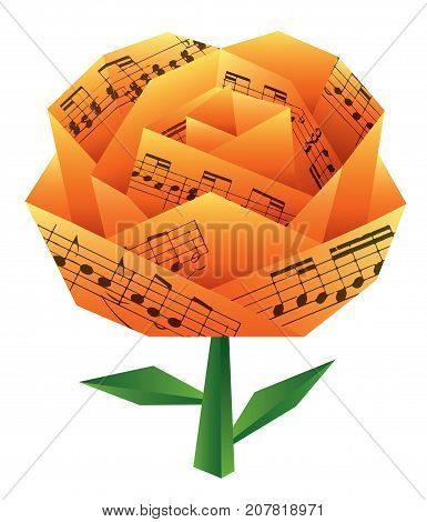 Paper rose with musical notes. Vector available.