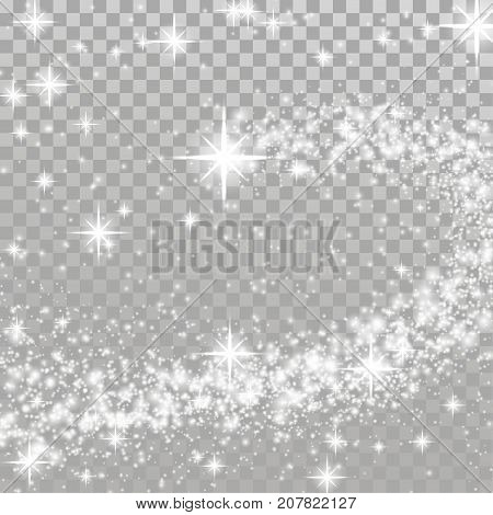 Happy merry Christmas shooting star transparent layout. Sparkling light effect isolated over checkered background. Shimmering Bright silver beautiful abstract overlay template. Vector illustration