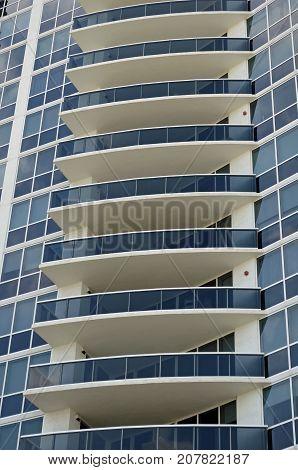 Terraces on an ultra-modern condominium tower in the south beach section of Miami Beach,Floridda