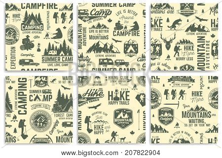 Summer camp and Hiking seamless pattern or background. Vector illustration. Retro typography design with rv trailer, tent, mountain, campfire, hiker and forest silhouette. For camping and hiking organizations