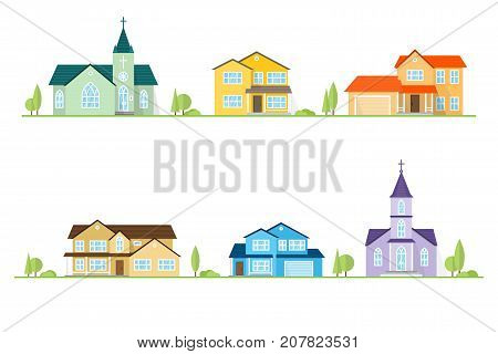 Neighborhood with homes and churches illustrated on white. Vector flat icon suburban american houses. For web design and application interface, also useful for infographics. Vector illustration.