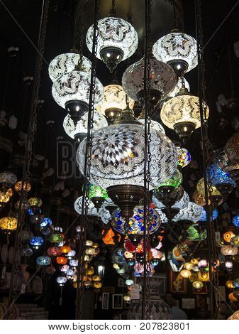 London, UK: July 26, 2016: Ethnic lamps in a shop in Camden Market. Camden Town district of Inner London, one of the most popular places in London with tourists.