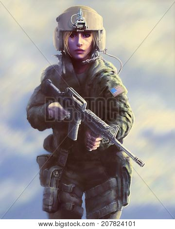 Woman soldier in a helmet and with a gun in their hands. Painted illustration in the genre of fiction. The heroic character of the helicopter pilot during the zombie apocalypse.