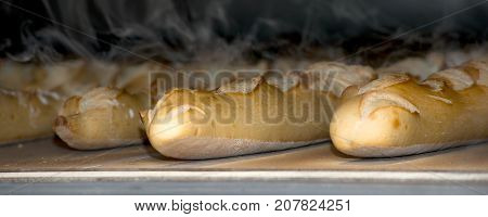the baguettes French bread cooked in the oven