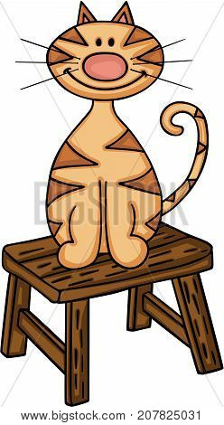 Scalable vectorial image representing a cat sitting on little wooden bench, isolated on white.