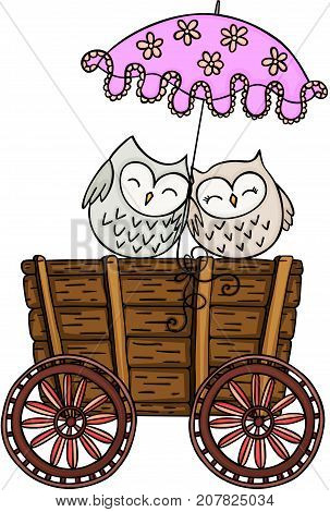 Scalable vectorial image representing a couple owls with umbrella on wooden trolley, isolated on white.