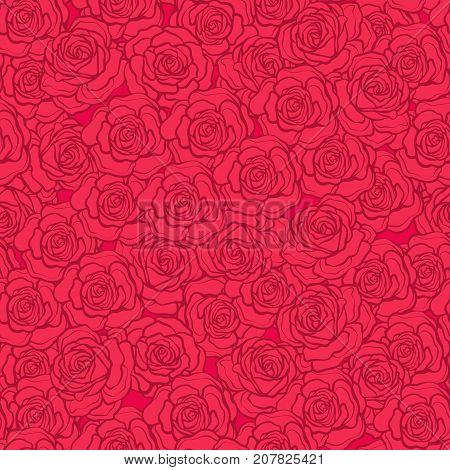 Rose flower seamless pattern. Red roses on red background. Stock vector.