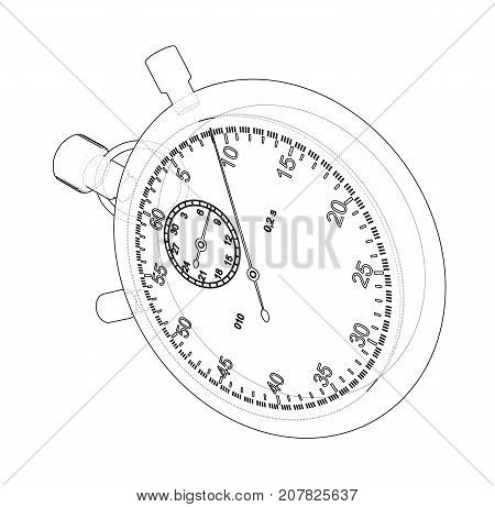 Stopwatch or timer sketch. Vector rendering of 3d. Wire-frame style. The layers of visible and invisible lines are separated