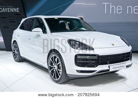 Frankfurt-September 20: world premiere of Porsche Cayenne Turbo at the Frankfurt International Motor Show on September 20 2017 in Frankfurt