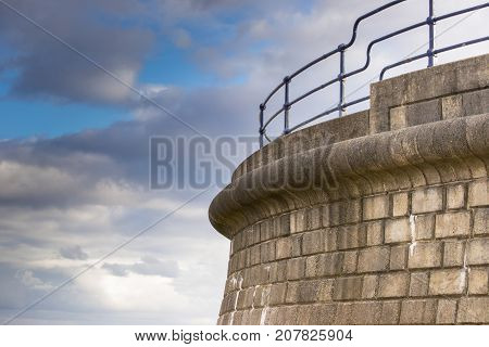 Coastal defences at Filey in the United Kingdom . A symbol of strength and protection.