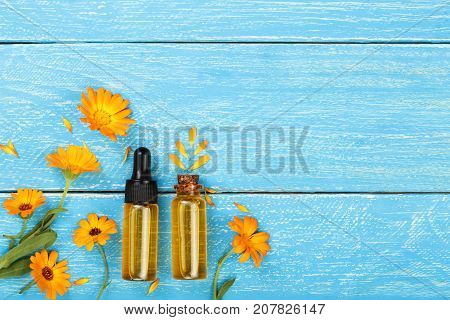 aromatherapy essential oil with marigold flowers on blue background with copy space for your text. Top view.