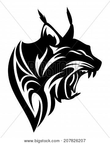 roaring lynx profile head black and white vector tribal design
