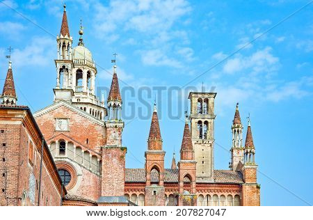 Italy Pavia the Charterhouse the church spires seen from the Carthusian monks cells