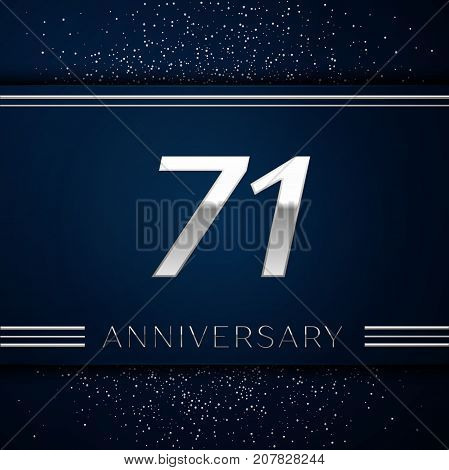 Realistic Seventy one Years Anniversary Celebration Logotype. Silver numbers and silver confetti on blue background. Colorful Vector template elements for your birthday party