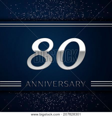 Realistic Eighty Years Anniversary Celebration Logotype. Silver numbers and silver confetti on blue background. Colorful Vector template elements for your birthday party