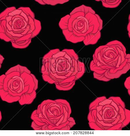 Seamless pattern with red roses on black background. Stock vector.