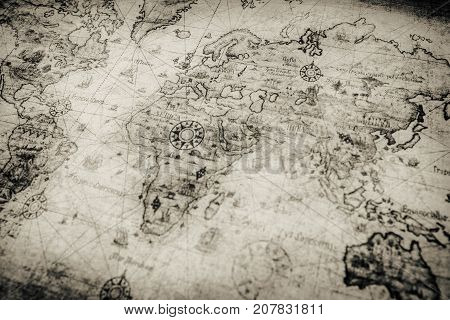 Travel Concept Background Vintage Map Background On The Photo.