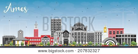 Ames Iowa Skyline with Color Buildings and Blue Sky. Business Travel and Tourism Illustration with Historic Architecture.