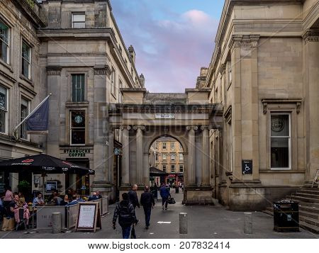 GLASGOW, SCOTLAND - JULY 21: Royal Exchange Square on July 21, 2017  in Glasgow, Scotland. Royal Exchange Square is a popular eating and shopping destination for tourists.