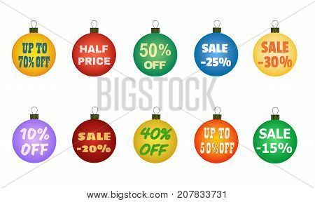 Xmas balls with promotional offers. Christmas sales. Suitable for discount cards, advertisement leaflet, coupon, flyer, vouchers, sale sticker. Vector illustration with numbers and percent symbol.