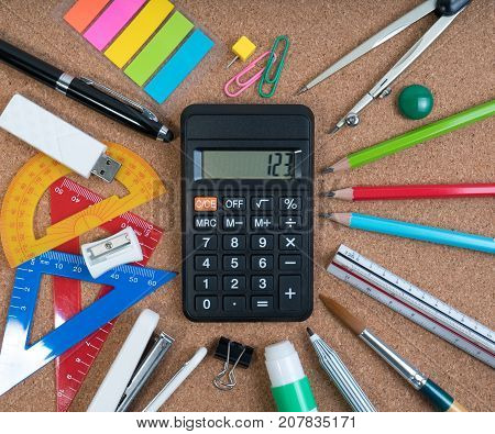 Stationery Of Education For Mathematics Class In School. Mathematics Equipment And Mathematics Tools