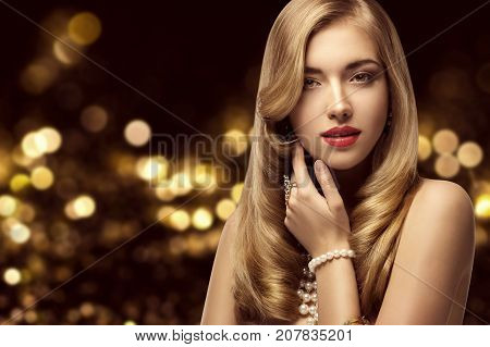 Woman Beauty Portrait Elegant Fashion Model Hairstyle and Makeup Beautiful Girl with Long Hair