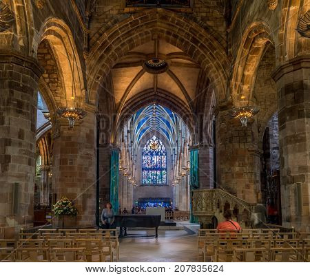 EDINBURGH, SCOTLAND - JULY 30: Interior of St. Giles Cathedral in the Old Town of Edinburgh on July 30 2017 in Edinburgh, Scotland. St. Giles is the most important cathedral in Scotland.