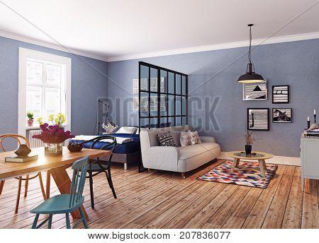 Modern apartment. Scandinavian design style. 3d rendering illustration concept