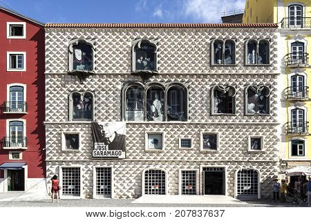 LISBON, PORTUGAL - September 25, 2017: Casa dos Bicos built in early 16th century in Italian Renaissance and Portuguese Manueline styles is now the headquarters of the Jose Saramago Foundation