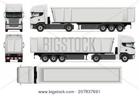 Truck with trailer vector mock up for car branding advertising and corporate identity. Dump truck Template on white. All layers and groups well organized for easy editing and recolor.
